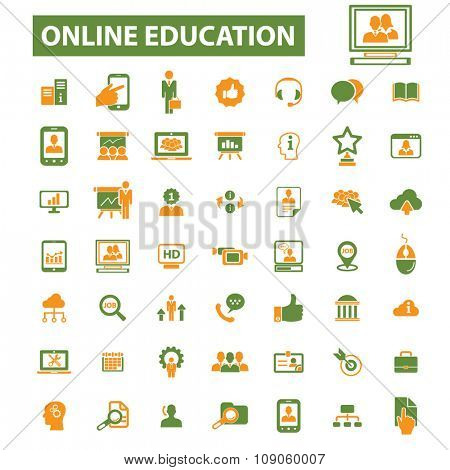 online education, learning, training, study, school  icons, signs vector concept set for infographics, mobile, website, application