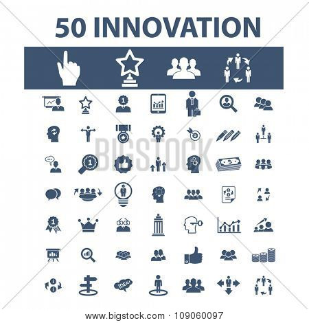 innovation technology, creative business icons, signs vector concept set for infographics, mobile, website, application