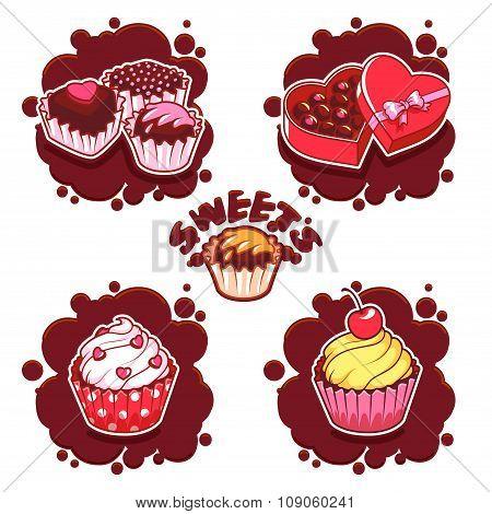 Set Of Sweet Chocolate Emblems.