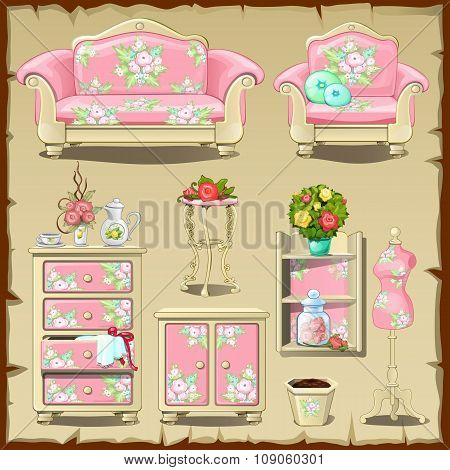 Card with pink iupholstered nteriors objects
