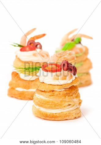 Salted Puff Pastry Stuffed With Cream Cheese And Prawns On White Background