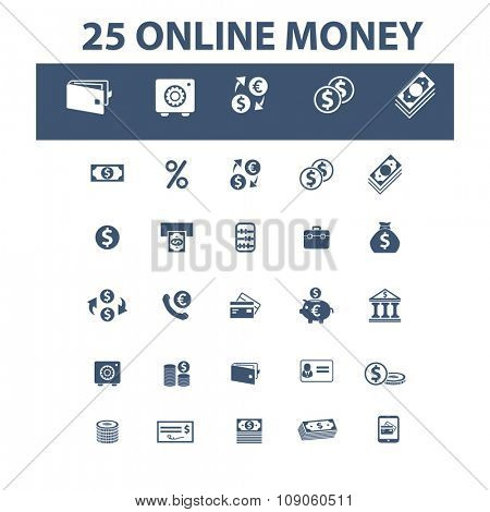 online money, payment, money, banking  icons, signs vector concept set for infographics, mobile, website, application
