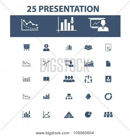presentation, chart, diagram, growth icons, signs vector concept set for infographics, mobile, website, application