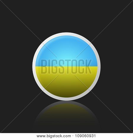 Round Icon With The Of A Flag Ukraine