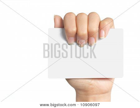 womans hand holding blank card