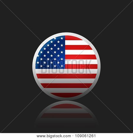 Round Icon With The Of A Flag Usa