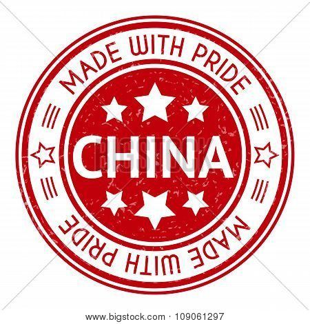Made in China red graphic. Round rubber stamp isolated