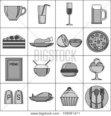 Black and White Food Set