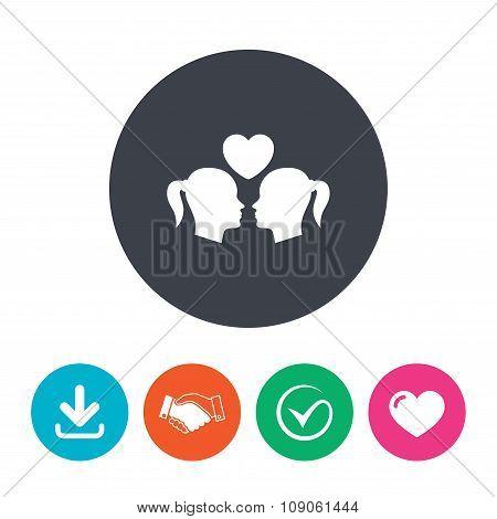 Lesbian couple sign icon. Woman love woman.