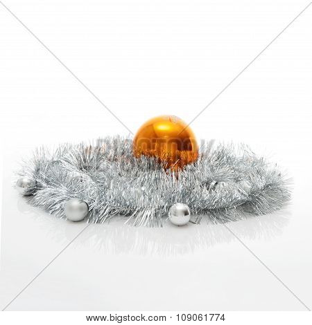 Greeting Card Template Made Of Silver Tinsel With Silver And Orange Christmas Balls With Copy Space,