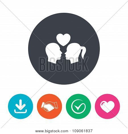 Couple sign icon. Male love female. Lovers.