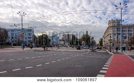 Moscow, Russia - Oct 22, 2015: Nikitsky Vorota Square With View To Greater Church Of The Ascension O