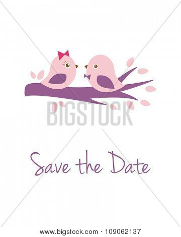 Wedding card with two cute pink birds