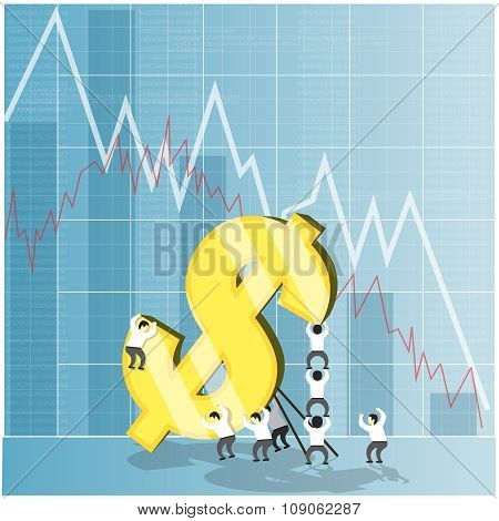 Concept for economy stock and currency market crash down. Dollar falling, economic crisis. Vector il