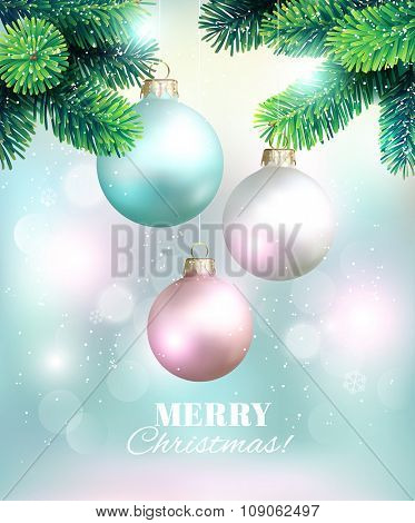 Christmas background with fir twigs and balls. Vector illustration.