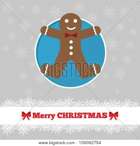 Christmas Card Template With Ginger Bread Man