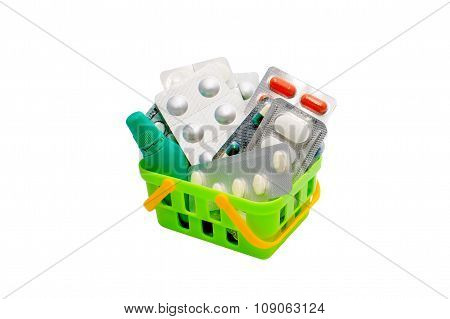 Colorful medications in the shopping basket