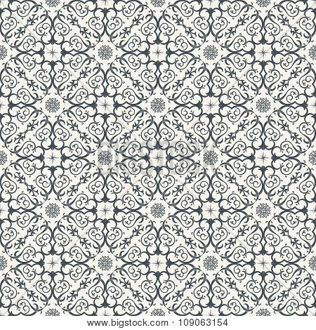 Seamless background in Arabic style. Black and white wallpaper with patterns for design. Traditional monochrome oriental decor