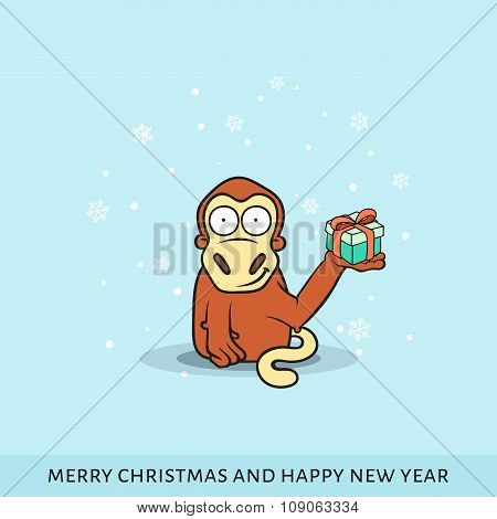 Cartoon vector illustration of monkey with New Year's gifts