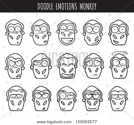 Set 15 doodle heads of monkeys with different emotions.