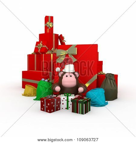 Monkey Near Boxes With Gifts