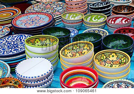 Colorful bowls with ornament, horizontal