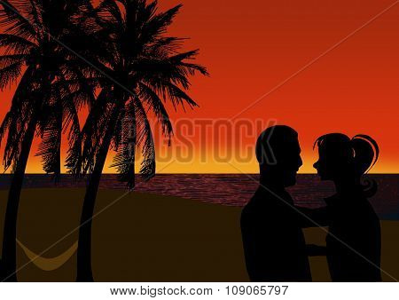 Romantic Couple On A Tropical Beach At Sunset