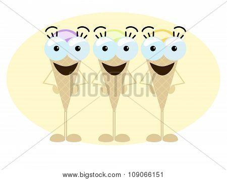 Crazy Ice Cream Trio on cream frame