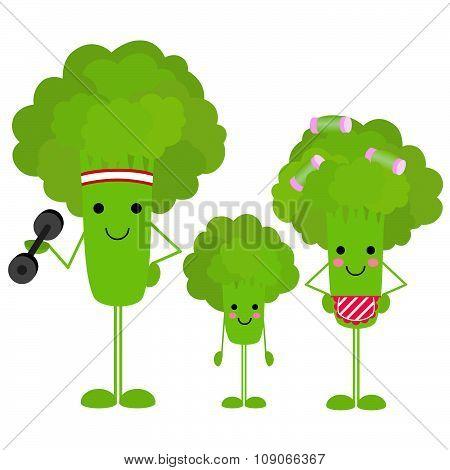 Healthy Family Fresh Broccoli on white background