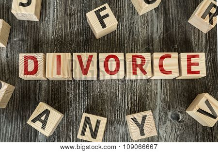 Wooden Blocks with the text: Divorce