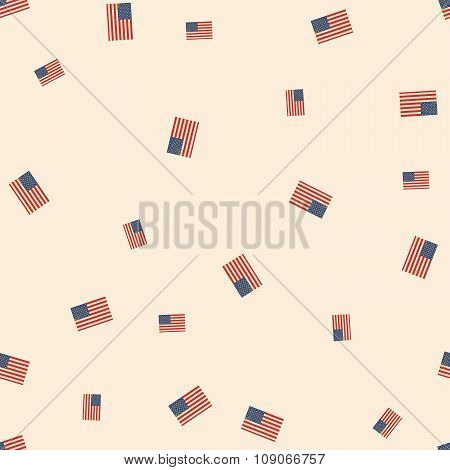 Seamless Pattern With Usa Flags.