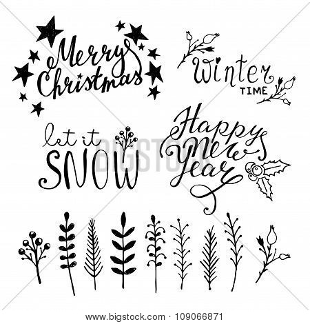 Set of Christmas hand drawn graphic elements