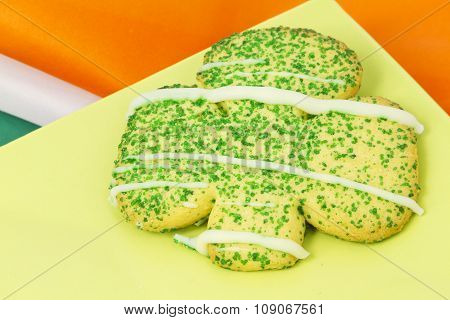 Irish Sugar Cookie On Green Plate