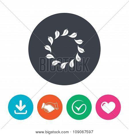 Wreath of leaves sign icon. Leaf circle symbol.