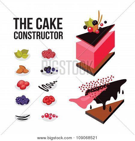 Cake Constructor Sweet Dessert Recipe Modern Isometric Flat Design Style