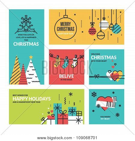 Christmas greeting cards and web banners