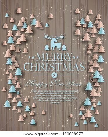 Christmas background on wood texture. Design elements for holiday cards.