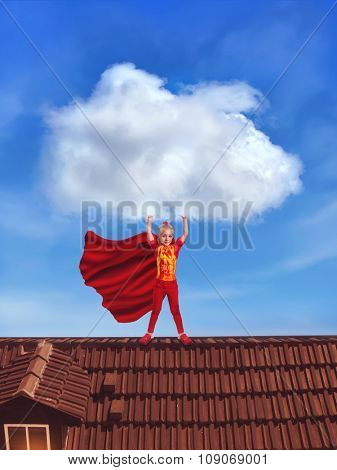 Little girl in costume holding a big cloud standing on the roof