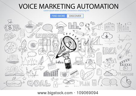 Voice Marketing concept with Doodle design style :finding ideas,social media advertising, creative slogans. Modern style illustration for web banners, brochure and flyers.