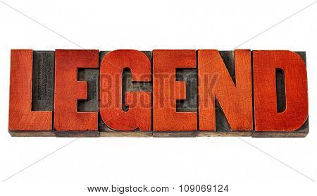 legend -  isolated word in vintage letterpress wood type stained by red ink