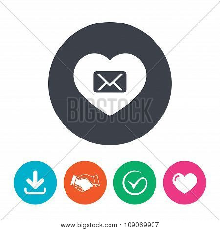 Love Mail icon. Envelope symbol. Message sign.