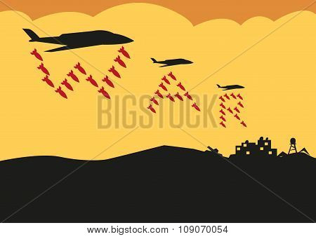 Fighter Planes Drop Bombs in War Text formation. Editable Clip Art.
