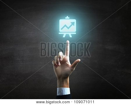 beautiful Business male hand indicating statistic finance icon