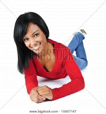Young Woman Smiling Laying Down
