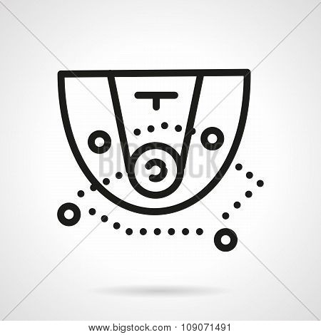 Black simple line basketball tactic vector icon