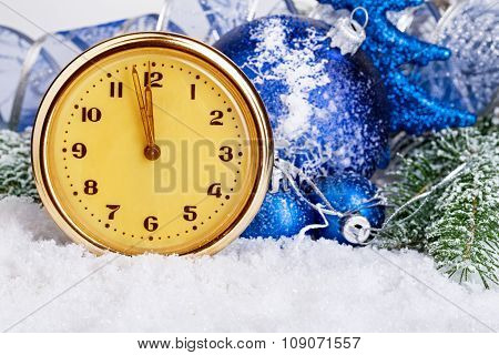 Vintage Clock And Christmas Balls On Background Frosty Fir Tree.
