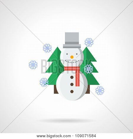 Wintertime flat color vector icon