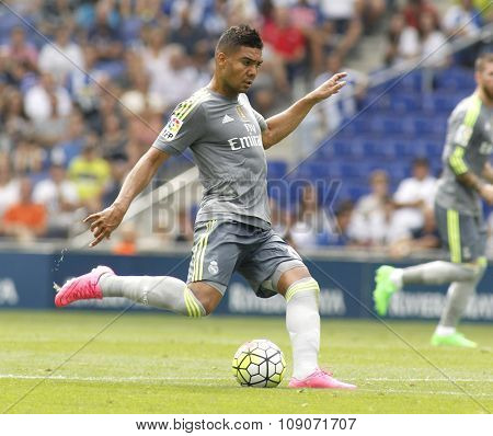 BARCELONA - SEPT, 12: Carlos Henrique Casemiro of Real Madrid during a Spanish League match against RCD Espanyol at the Power8 stadium on September 12 2015 in Barcelona Spain