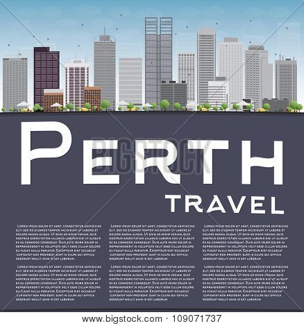 Perth skyline with grey buildings, blue sky and copy space. Business travel and tourism concept with place for text. Image for presentation, banner, placard and web site.