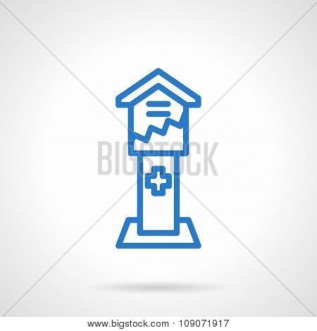 Blue simple line donation box vector icon